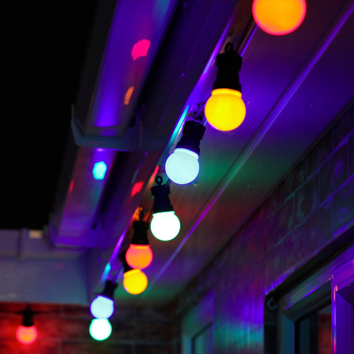 8-40m Multi Colour Outdoor Christmas LED Festoon String Lights   Globe Bulb