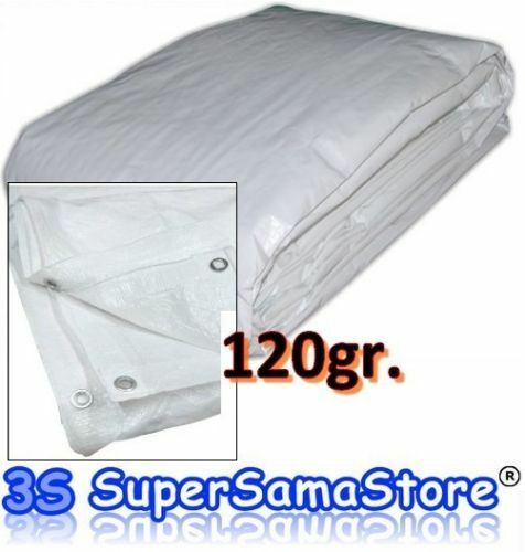 Tarpaulin Cover Ground Sheet With Eyelets WATERPROOF COLOR WHITE 120 grams