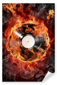 Postereck-Poster-0057-Feuer-Schallplatte-LP-DJ-Sound-Flammen-Rock-Musik
