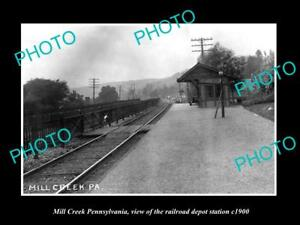 OLD-LARGE-HISTORIC-PHOTO-OF-MILL-CREEK-PENNSYLVANIA-THE-RAILROAD-STATION-c1900