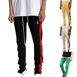Sport-Mens-Casual-Pants-Sweatpants-Fitness-Joggers-Slim-Fit-Stripe-Side-Trousers