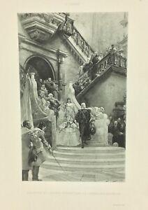 Gravure-ancienne-a-l-eau-forte-XIXe-G-CLAIRIN-PHILIPPE-IV-salon-1888-rare