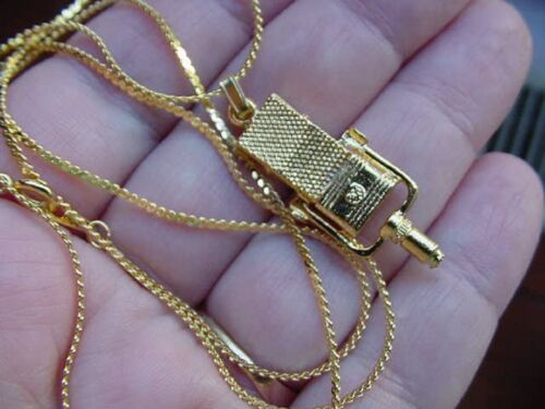 M-4-H RCA 44B//BX 24k gold plt Microphone Mic NECKLACE JEWELRY I love music