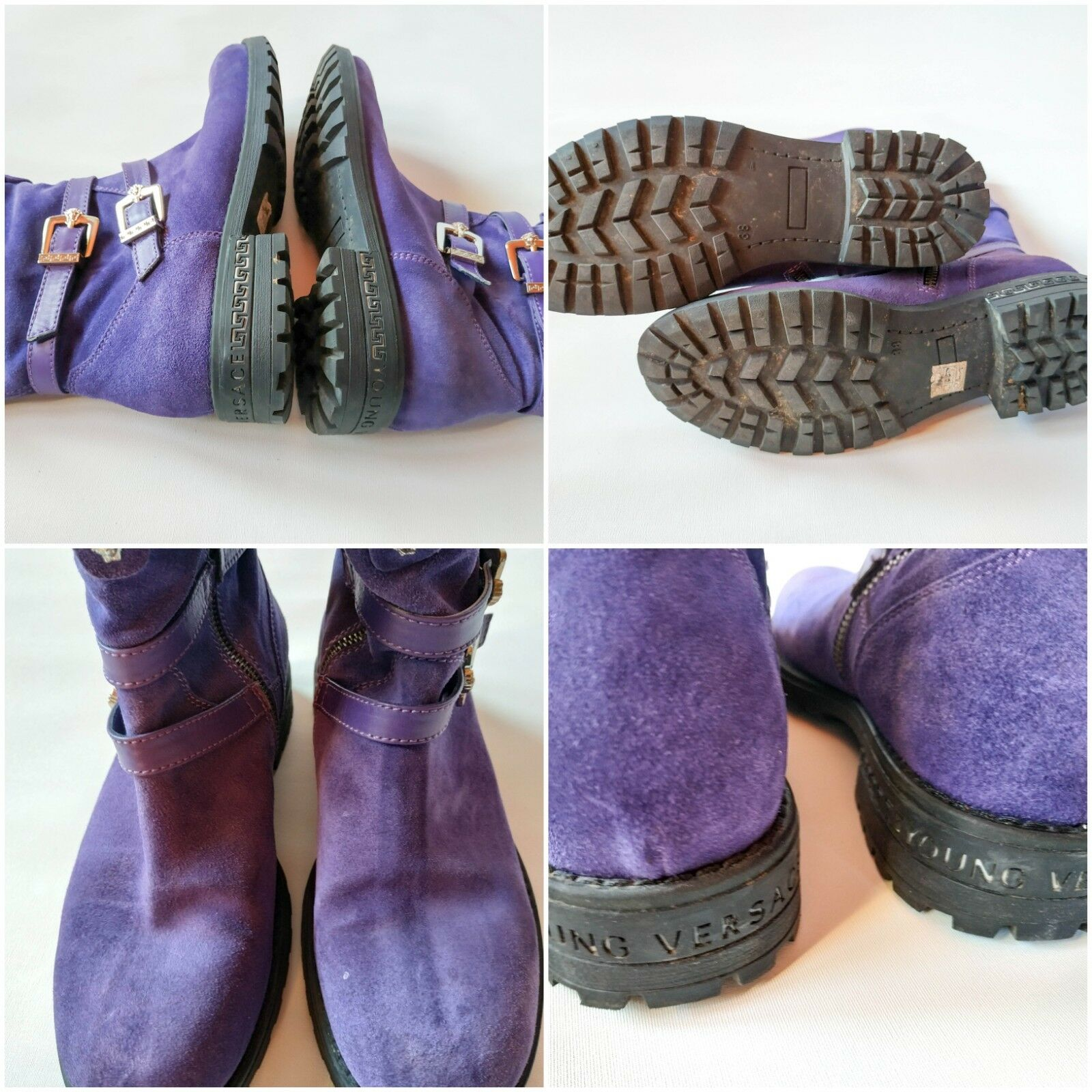 Versace Violet en en en Cuir et Daim Bottes Chaussures avec boucle dorée Taille 5 avec boite fa145f