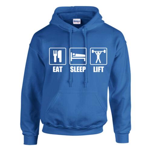 Comer dormir levantar Con Capucha adult//kids-Personalizado-parte Superior Para Levantamiento De Pesas De Regalo Gym