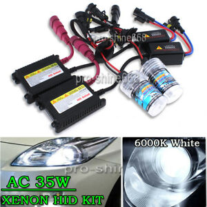 2X BULBS FOR AFTER MARKET HID CONVERSION KIT XENON 6000K ICE WHITE 35W WIRE IN
