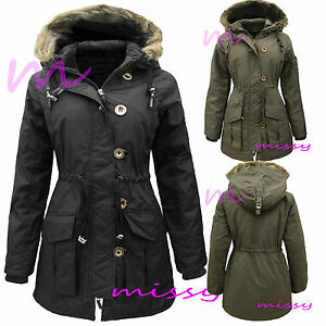 e23bc3705cc80 Image is loading NEW-WOMENS-Ladies-Plus-Size-Parka-MILITARY-Quilted-