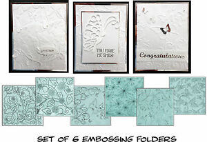 Embossing folder set 6/PK - Butterfly,swirl,flowers,All Occasion Ecstasy Crafts
