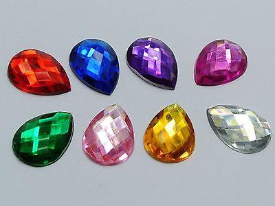 100 Mixed Color Flatback Acrylic Rhinestone TearDrop Gem Beads 13X18mm No Hole
