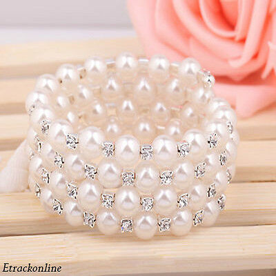 Fashion 1-7 Lap Full Pearl Crystal Rhinestone Open Bangle Bracelet Wedding Party