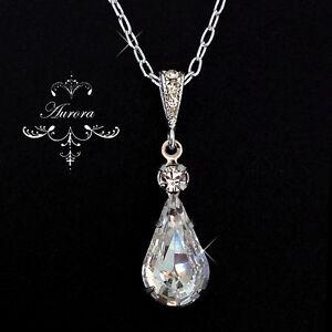 Swarovski-Crystal-Elements-Clear-Teardrop-Necklace-Wedding-925-Sterling-Silver