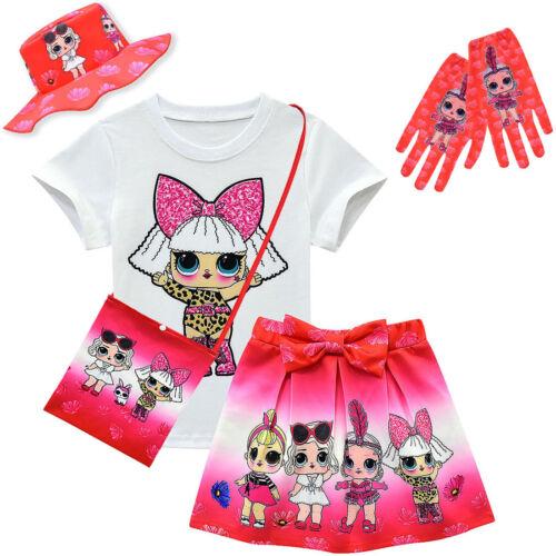 Kids Girls LOL Surprise Dolls 5PCS Short Sleeve T Shirt+Pleated Skirt Outfit Set