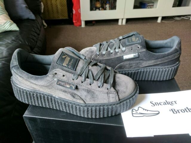 Puma By X Rihanna Fenty Suede Creepers Velvet Glacier Grey Gray 364466 03 Black