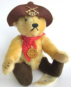 "1996 STEIFF 11"" Rough Rider Mohair Jointed Bear 665028 Limited Ed 233 Tag/Button"