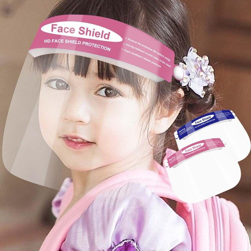 4//8//12//16Pcs Kid Clear Safety Full Face Shield Cover Visor Cap Reusable