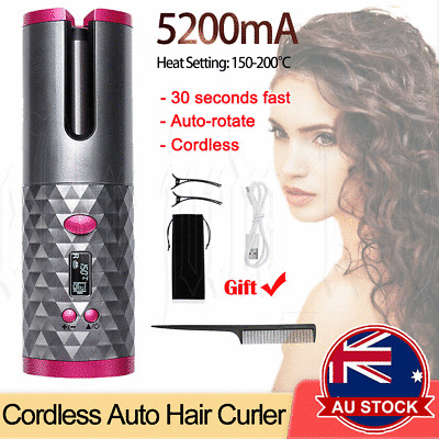 Details about  Hair Curler LCD Ceramic Cordless Auto Rotating Wireless Waver Curling Iron Salon