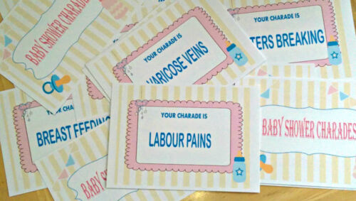 BABY SHOWER BABY SHOWER CHARADES GAME PACK OF 20 FUN GAME UNISEX COLOUR