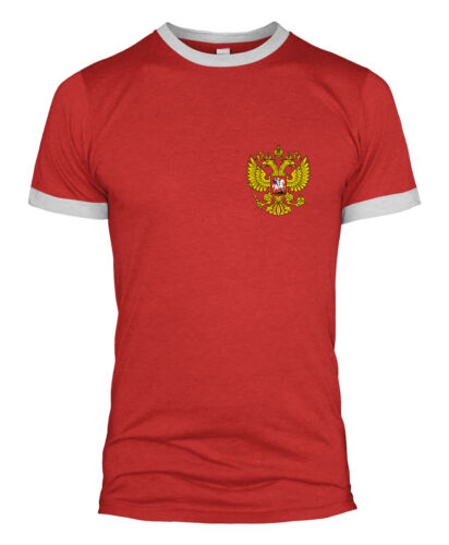 La RUSSIA RETRÒ FOOTBALL T SHIRT BADGE WORLD CUP NATIONAL SUPPORTO Uomini KID 2018 L254