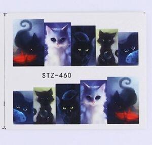 Nail-Art-Pegatinas-Calcomanias-de-agua-transfiere-misterioso-Scary-Halloween-Gato-460