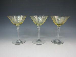 Lotto-di-3-Fostoria-Cristallo-Trojan-Topazio-Champagne-Alto-Sherbet-Eccellente