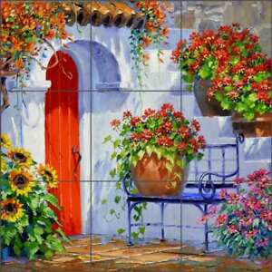Courtyard-Tile-Backsplash-Senkarik-Ceramic-Mural-Flowers-Floral-Art-MSA193
