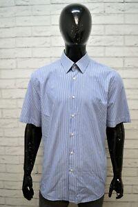 Camicia-a-Righe-Uomo-HUGO-BOSS-Taglia-45-Camicetta-Manica-Corta-Maglia-Shirt-Man