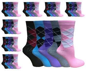 12 Pairs Women/'s Ladies Girls Ankle Socks Cotton Plain Argyle Socks Size 4-8