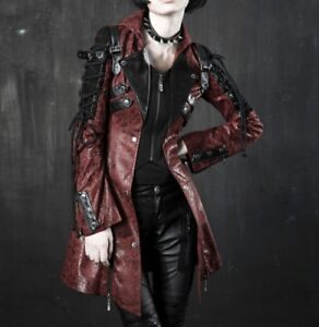 38167f1d0 Details about Punk Rave Poison Red & Black Leather Jacket Gothic Steampunk  Halloween Coat
