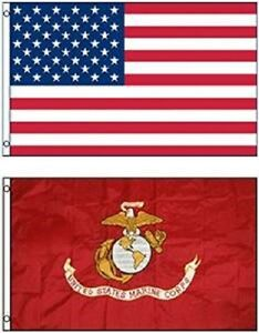 55efca1a3a20 Details about Wholesale Combo Lot 3' X 5' USA AMERICAN & USMC MARINE CORPS  EGA 2 FLAGS 3X5