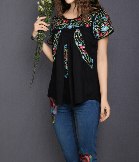 Vintage 70s Scallop Boho Ethnic Floral Embroidered Women Blouse Peasant Tops