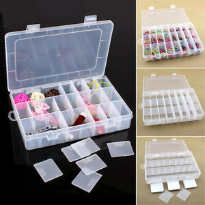 24 Compartments Plastic Case Box Jewelry Bead Storage Containers