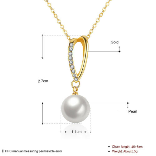 Wholesale 18K Yellow Gold Filled Clear Zirconia Pearl Pendant Necklace Gift