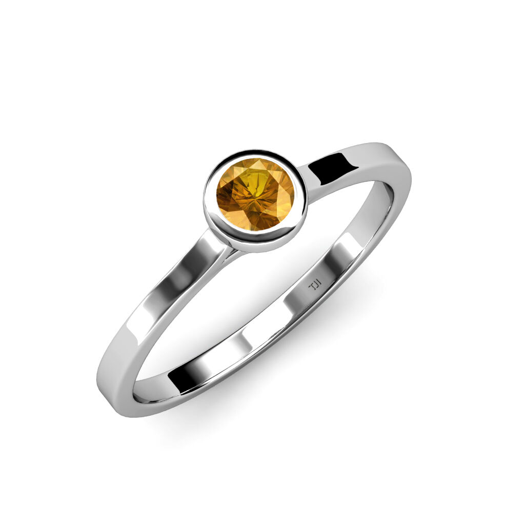 Citrine Floating Stone Solitaire Ring 0.53ct in 14K gold