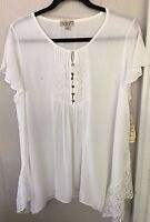 One World Live & Let Live White Babydoll W/ Brocade Lace Top Plus Sizes 1x 2x 3x