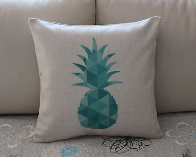 Turquoise Geometry Pineapple Cotton Linen Cushion Cover Throw Pillow Decor B666