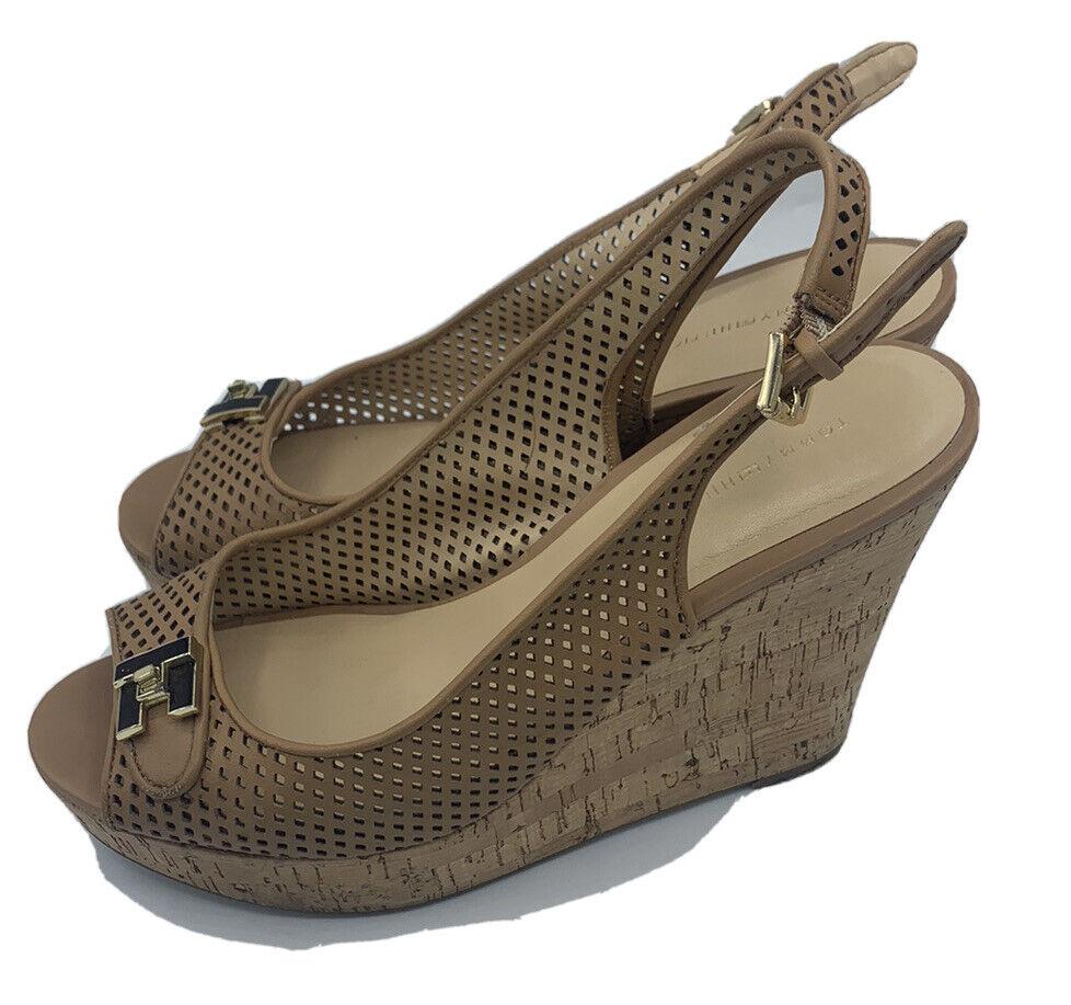 Tommy Hilfiger Size 8.5 M Tan Leather Cork Wedges - image 4