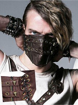 Pratico Masque Gothique Punk Steampunk Cuir Laçage Crânes Skull Mask Punkrave Homme C