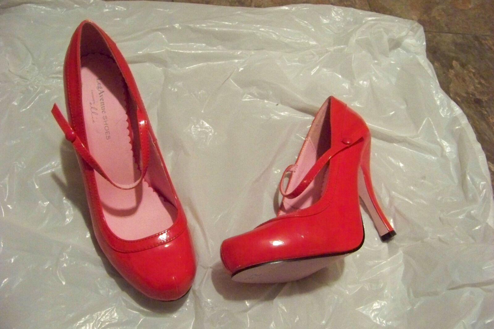 womens 9 leg avenue red mary jane heels shoes size 9 womens runs sm 8 1/2 6ba47b