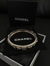New NIB CHANEL CC Stars Logo Swarovski Crystals Light Gold Metal Bangle Bracelet