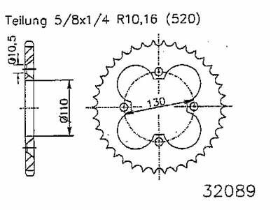 Stahl-Kettenrad 36Z-520 Kawasaki KFX-R,SF450B