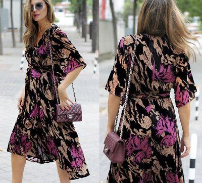ZARA Devore Velvet Wrap Midi Floral Dress Black Purple S, M