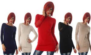 Maglione-pullover-maglioncino-donna-aderente-maglia-lunga-pizzo-nuovo