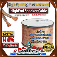 50m Roll Hq Professional 14awg Gauge 100% Pure Copper Ofc Speaker Cable Wire