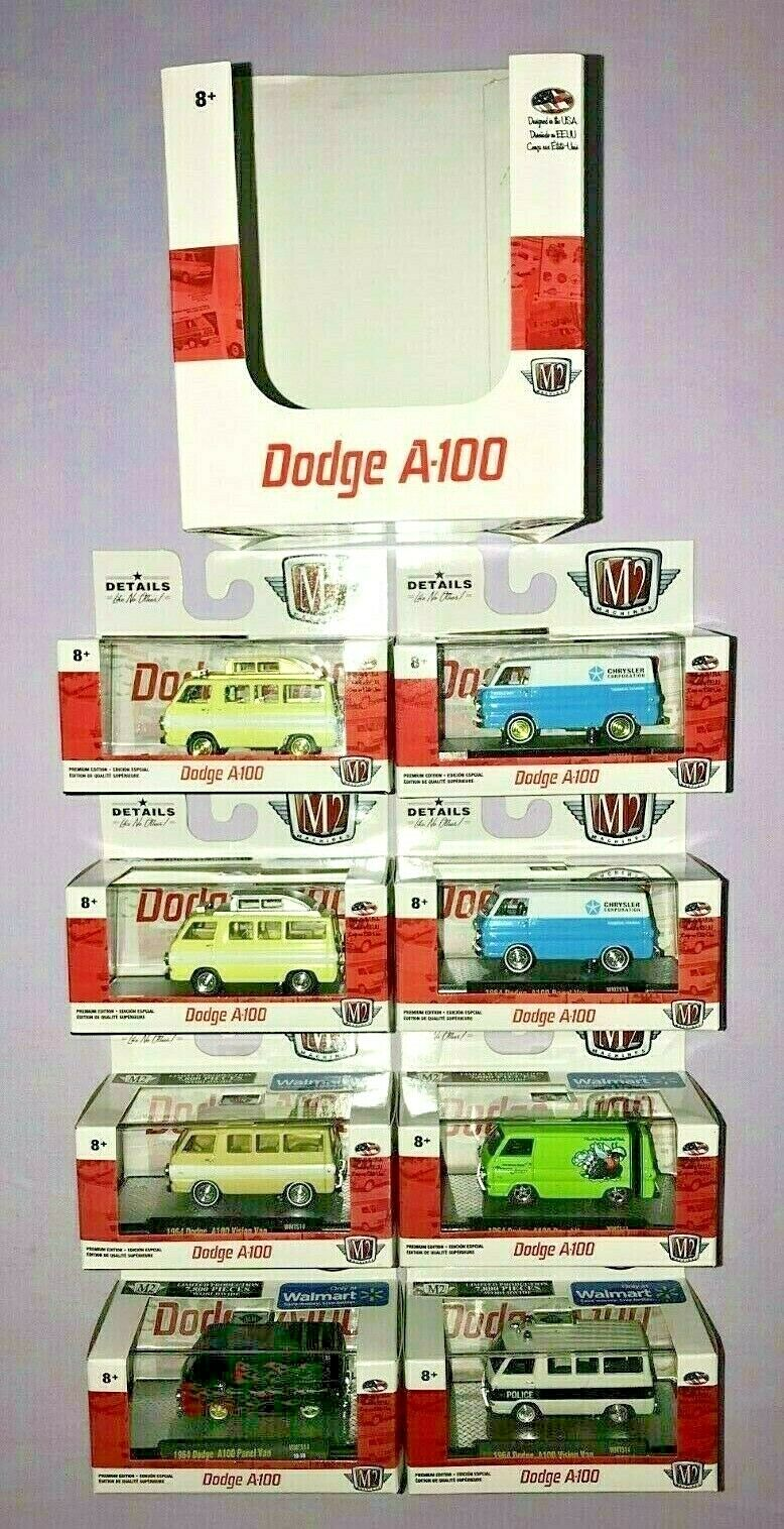 2019 M2 DODGE A100 DIE CAST Masse OF 6 + 2 CHASE DODGE CAMPER VAN & PANEL VAN