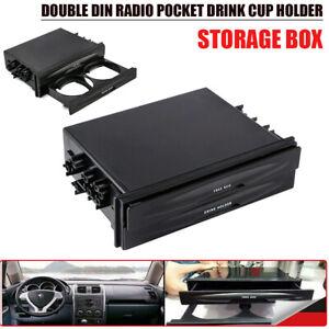 Universal-2-DIN-Radio-Tasche-Flaschenhalter-Blagefach-Aufbewahrungsbox-fuer-Auto