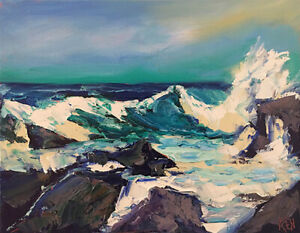 NORTH-ATLANTIC-Original-Expression-Seascape-Ocean-Oil-Painting-11x14-034-022119-KEN