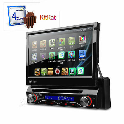 """7"""" Flip Up 4Core Android 4.4 Car Player GPS DVD Receiver 1 DIN Radio Stereo OBD2"""