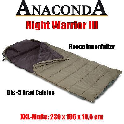 ANACONDA Schlafsack Night Warrior 3 Schlaf Sack mit Kissen Karpfenangeln