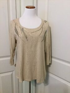 Coldwater-Creek-3-4-Sleeve-Light-Brown-Color-Top-With-Bead-Detail-Size-XL-16