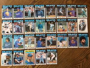 1986-ATLANTA-BRAVES-Topps-COMPLETE-Baseball-Team-Set-29-Cards-MURPHYx2-SUTTER